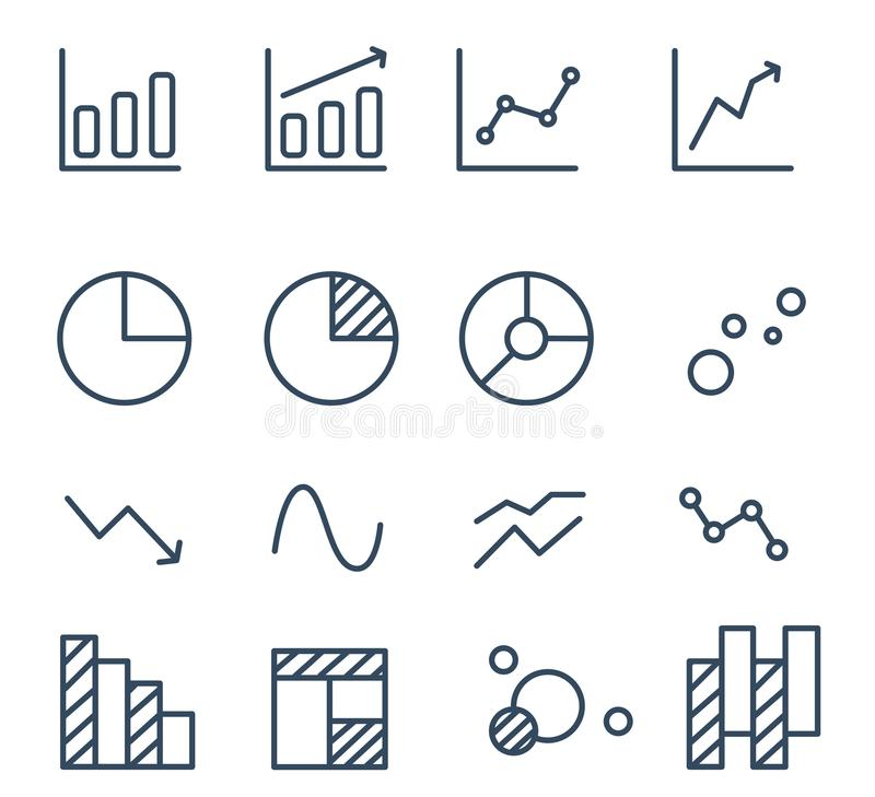Simple set of diagram and graphs. Related vector icons for your design royalty free illustration