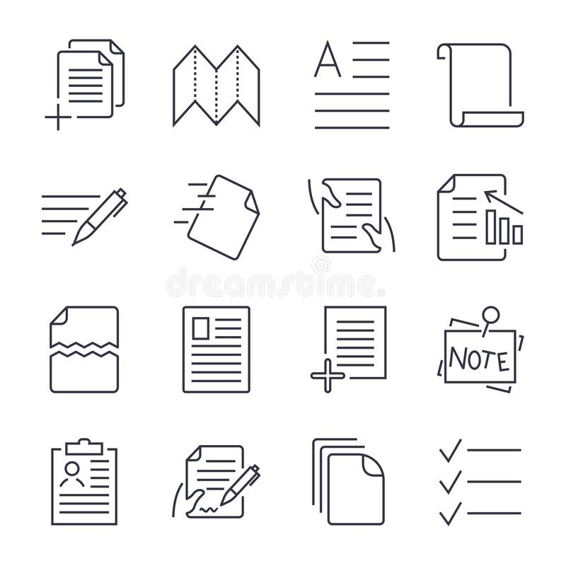 Simple Set of Document Icons. Contains such Icons as Batch Processing, Legal Documents, Clipboard, Download, Document royalty free illustration