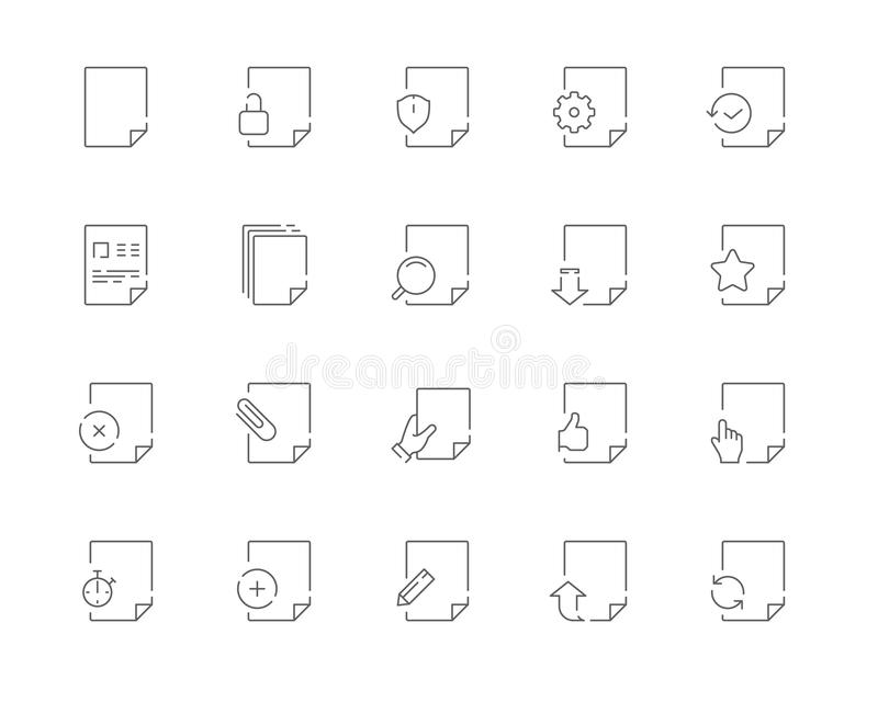 Simple set of Document related vector line web icons royalty free stock image