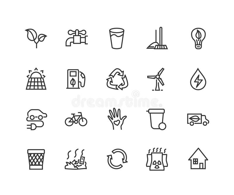 Simple Set of Eco energy Related Vector Line Icons. Contains such Icons as Electric car, nuclear plant, rubbish dump vector illustration