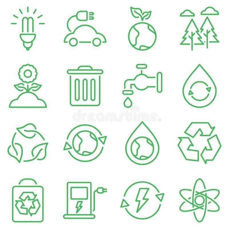 Simple Set of Eco Related Vector Line Icons. Icons for renewable energy, green technology stock illustration