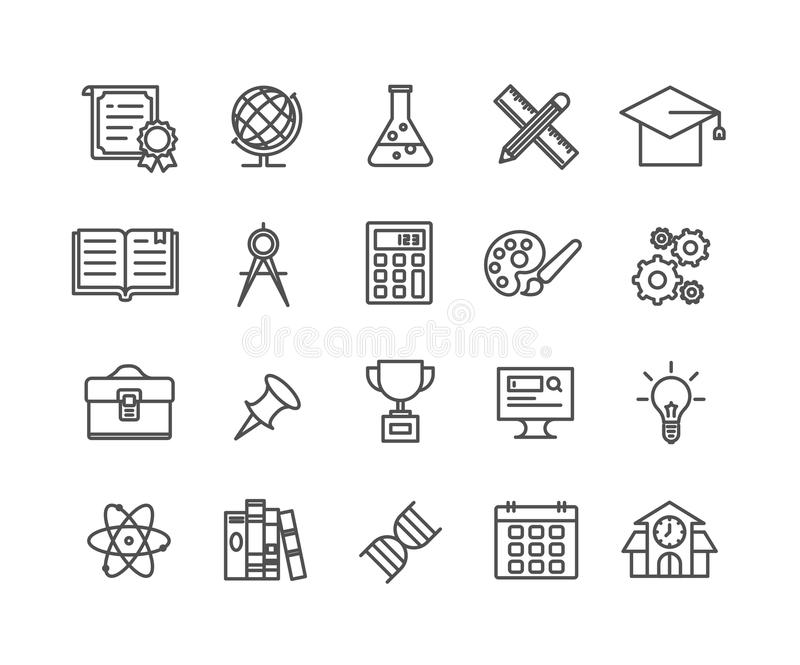 Simple Set of Education vector thin line icons royalty free illustration