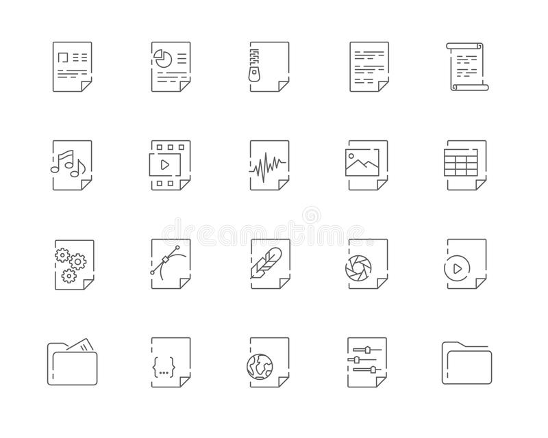 Simple set of File types vector line web icons stock photography