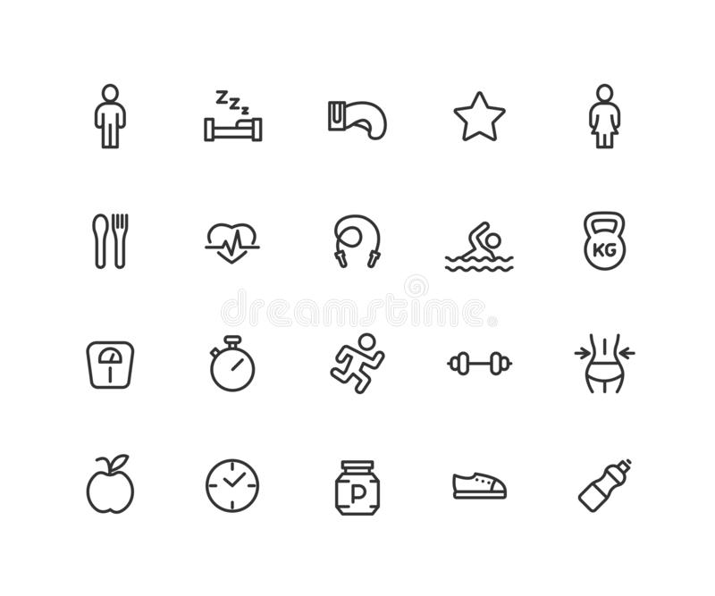 Simple Set of Fitness Vector Line Icons. Contains such Icons as boxing, running, gym, pool and more. Editable vector stock illustration