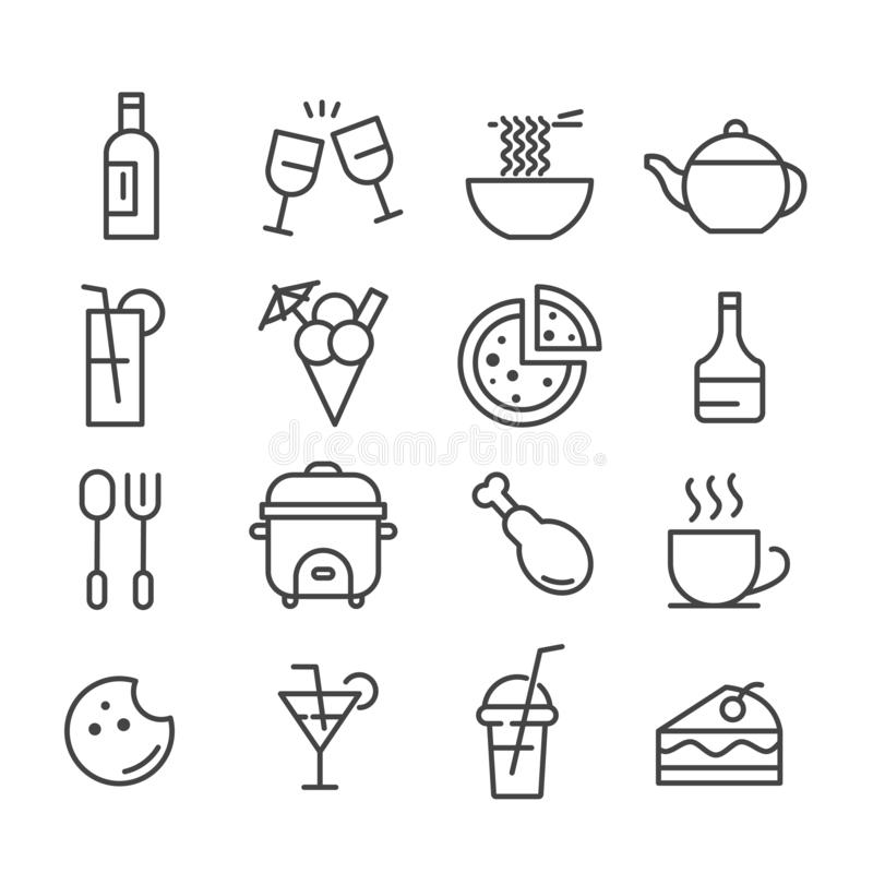 Simple set of food and drink minimal icon such as wine and cake for party isolated modern outline on white background. Vector vector illustration
