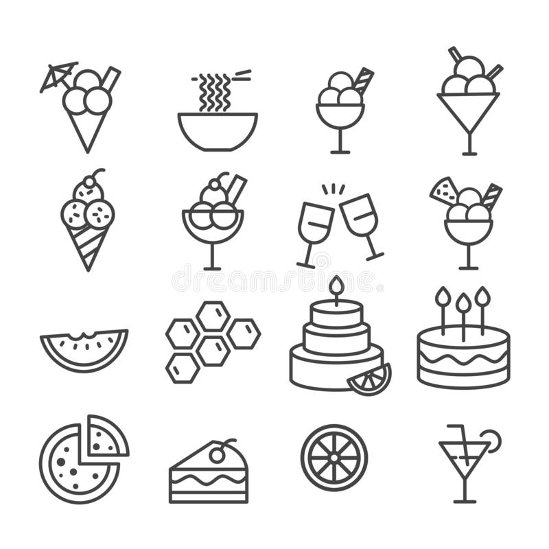 Simple set of food for party minimal icon isolated. Modern outline on white background royalty free illustration
