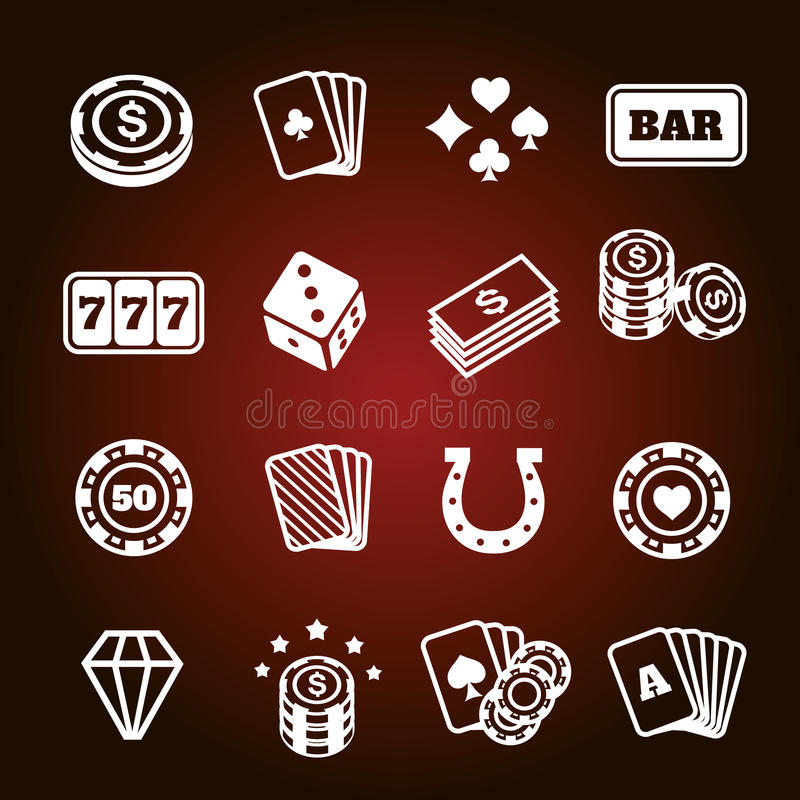 Simple set of gambling related vector icons. Vector vector illustration