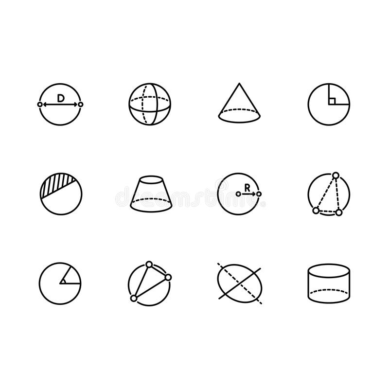 Simple set geometric figures vector line icon. Contains such icons circle, sphere, cylinder, cone, pyramid, radius royalty free illustration