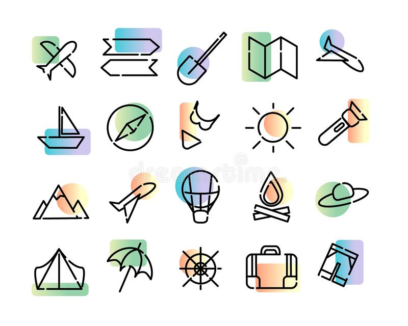Simple set of  icons of travel. Black dotted lines and colorful modern gradient on a white background. Map, sun, plane, royalty free illustration