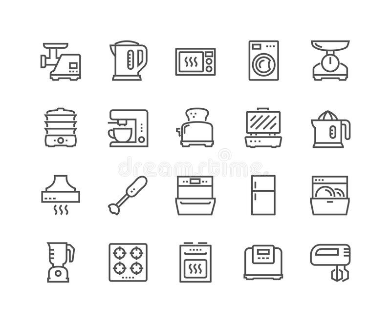 Line Kitchen Appliances Icons stock illustration