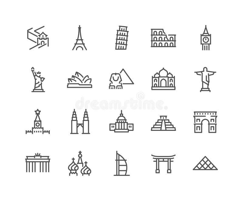 Line Landmarks Icons royalty free illustration