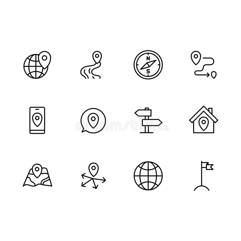 Simple set map pointer, navigation, globe, travel, location illustration line icon. Contains such icons arrows, map with vector illustration