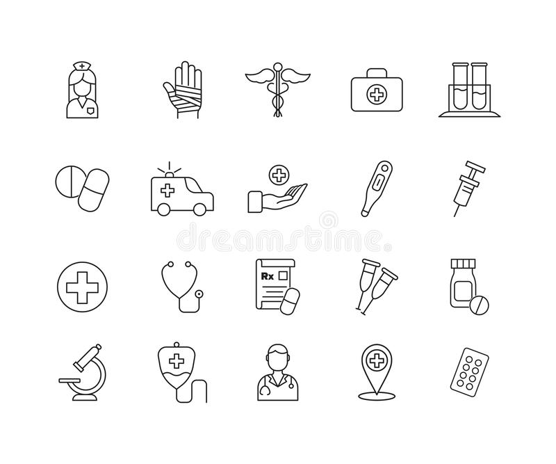 Simple Set of Medicine Related Vector Line Icons. Contains such Icons as healthcare symbol, pills, doctor and more. Simple Set of Medicine Related Vector Line stock illustration