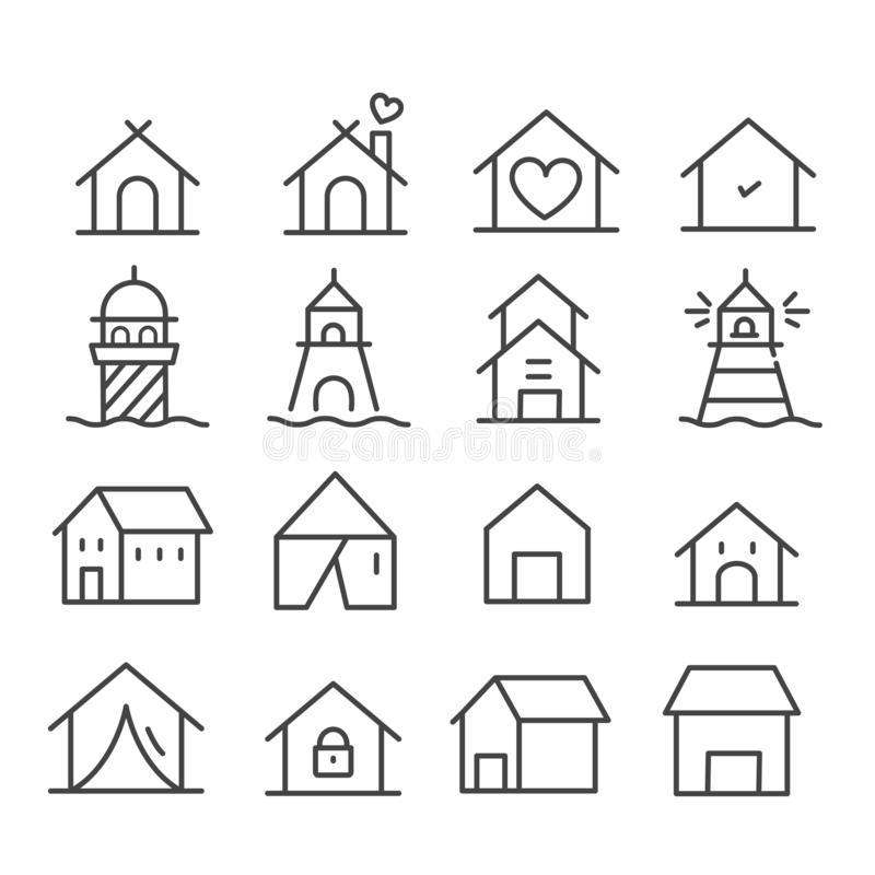 Simple set of minimal lighthouse tower and small buildings icon isolated. Modern outline on white background vector illustration