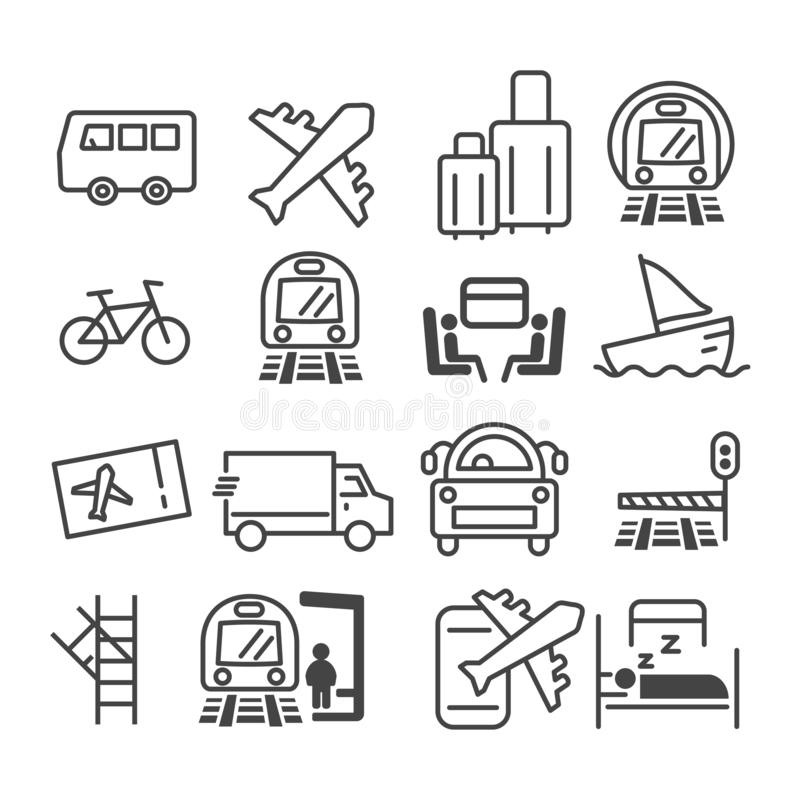 Simple set of minimal public transport related icon such as airplane, bus, train, air mail delivery symbol isolated. Modern. Outline on white background vector royalty free illustration