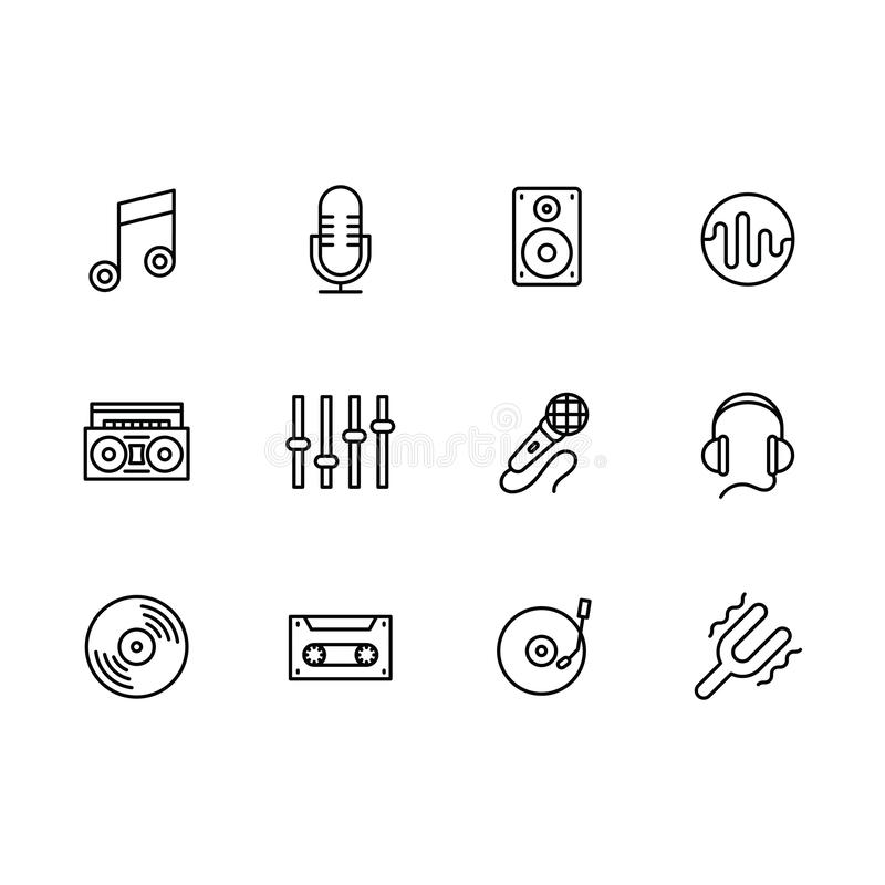 Simple set modern and retro music equipment vector line icon. Contains such icons notes, microphone, music speaker, tape stock illustration
