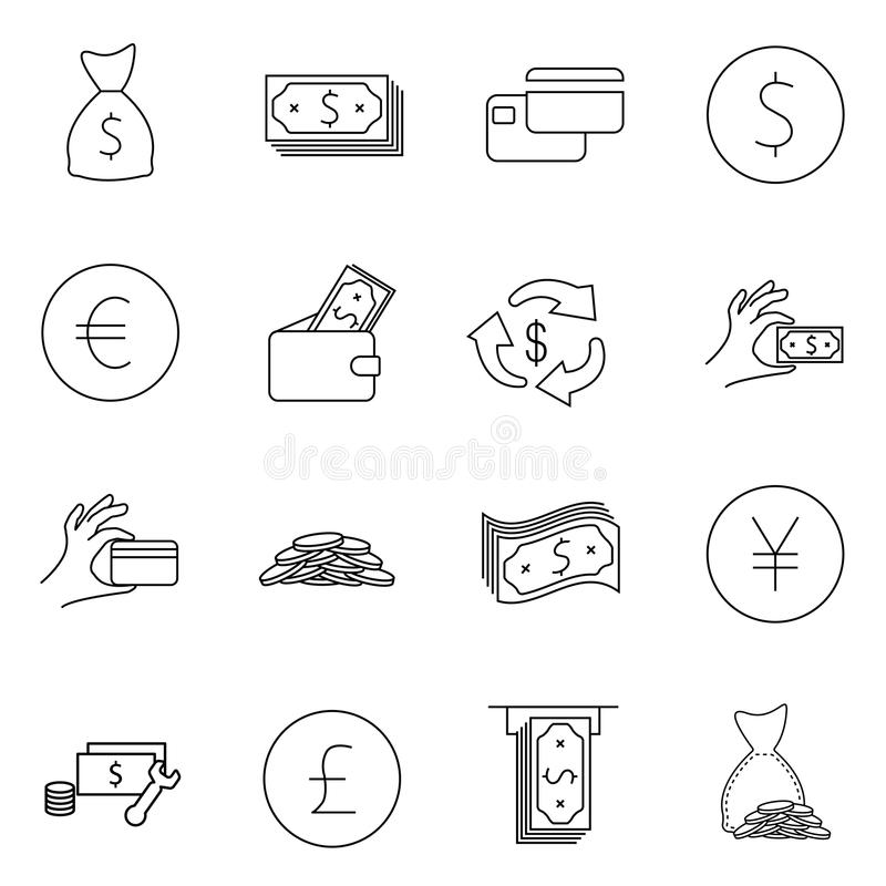 Simple Set of Money Related Vector Line Icons. Contains such Icons as Wallet, ATM, Bundle of Money, Hand with a Coin and more. Edi royalty free illustration