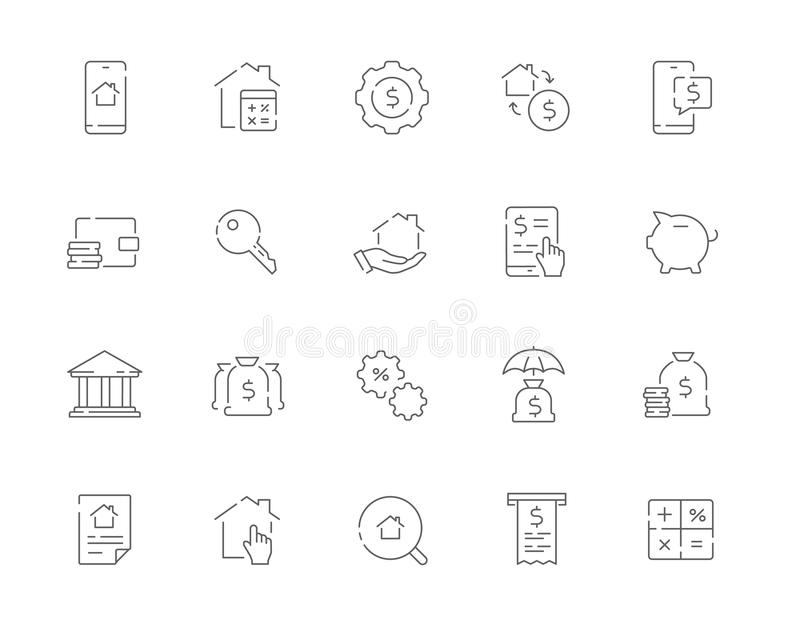 Simple set of Mortgage related vector line web icons. Contains s royalty free stock image