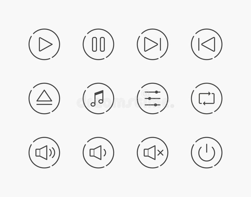 Simple Set of Music Play Control Thin Line Icons stock illustration