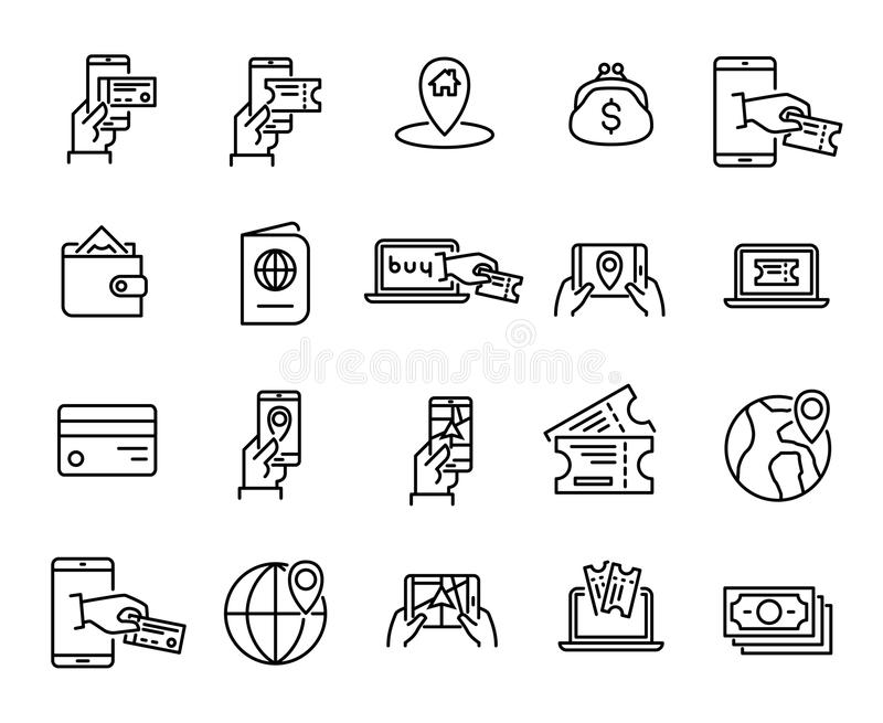 Simple set of online booking related outline icons. stock illustration