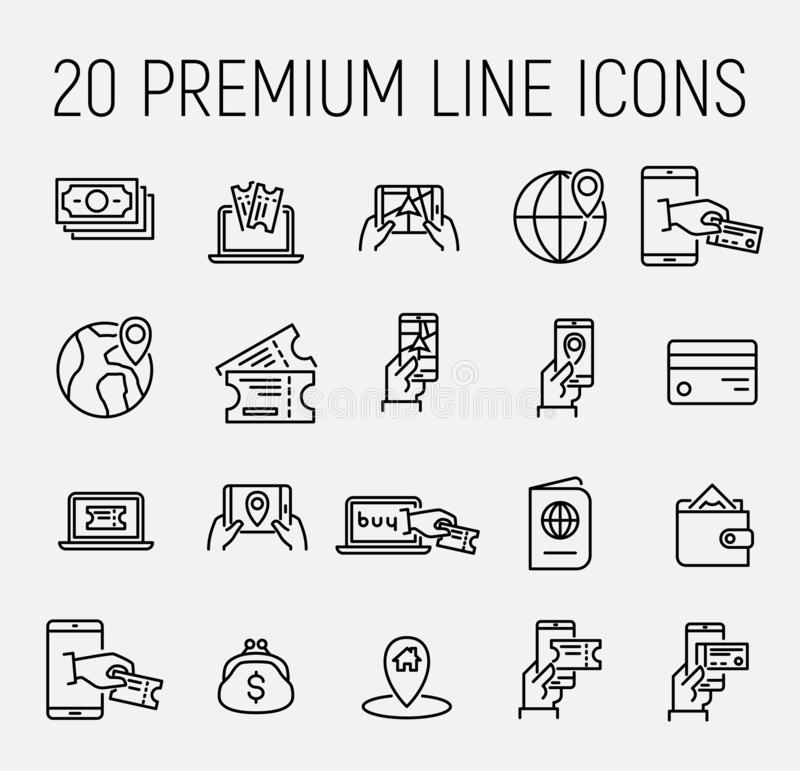 Simple set of online booking related outline icons. royalty free illustration