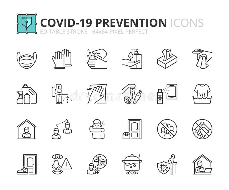 Simple set of outline icons about Coronavirus prevention. Outline icons about Coronavirus prevention.  Clean and disinfect, sanitizer products, wash your hands royalty free illustration