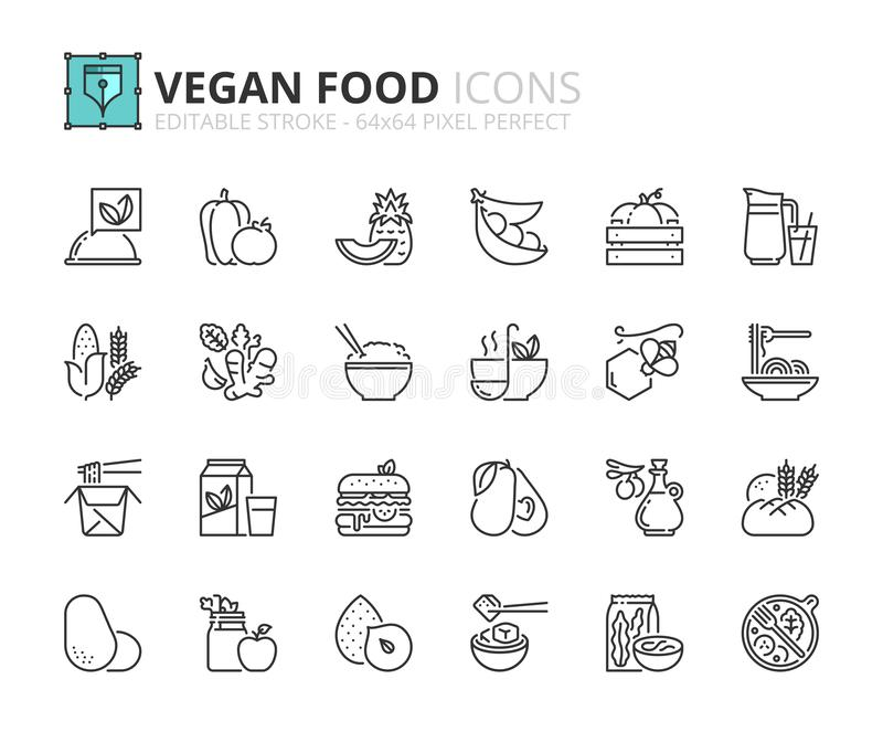 Simple set of outline icons about vegan food. Fruits, vegetables, beans, nuts, grains and soy vector illustration