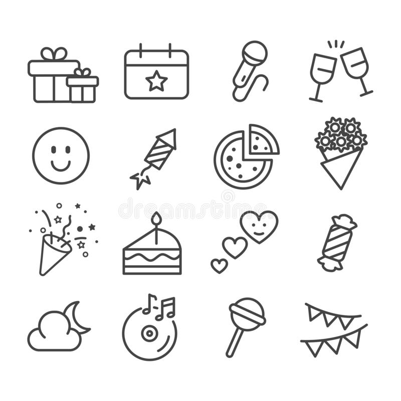 Simple set of party such as birthday, celebration minimal icon isolated. Modern outline on white background. Vector royalty free illustration