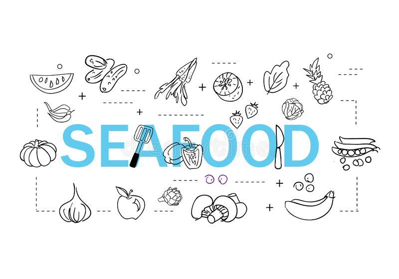 Simple Set of Sea Food Related Vector Line Icons. Contains such Icons as Shrimp, Oyster, Squid, Crab and more stock illustration