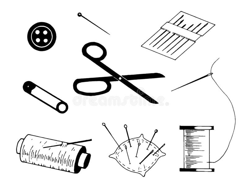 Simple Set of Sewing Related Vector Line Icons illustrations on white background vector illustration