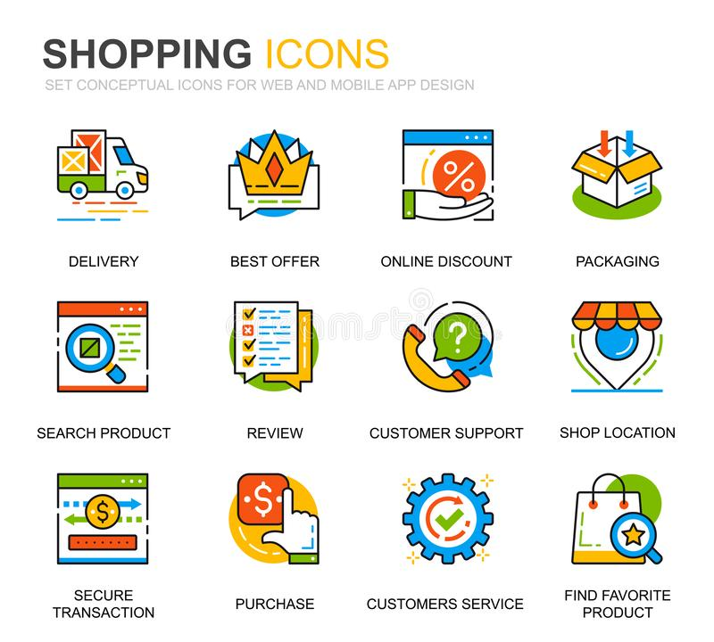 Simple Set Shopping and E-Commerce Line Icons for Website and Mobile Apps Pakiet piktogramów wektorowych royalty ilustracja