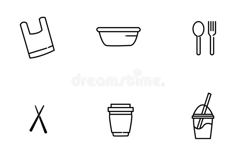 Simple set of single use items in black and white tone related vector outline icons. Simple set of single use items in black and white tone related vector royalty free illustration