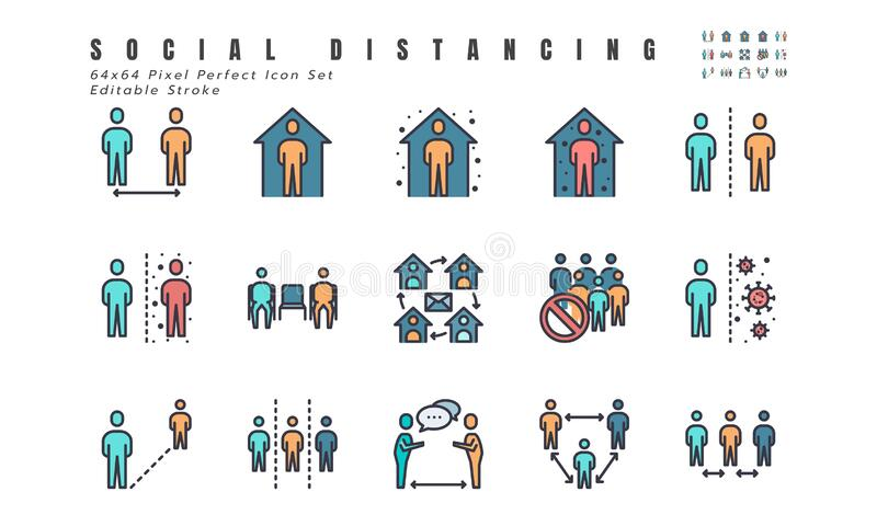 Simple Set of Social Distancing, Coronavirus Disease 2019 Covid-19 Filled Line Icons such Icons as Stay Home, Quarantine, Work. From Home, Avoid Crowded Place stock illustration