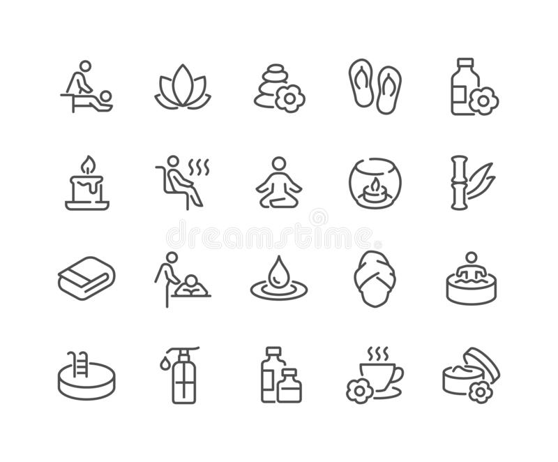 Line SPA Icons royalty free illustration