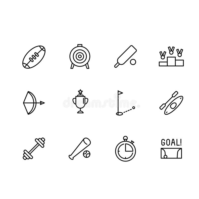 Simple set sport and active lifestyle vector line icon. Contains such icon american football, rugby, baseball, cricket stock illustration