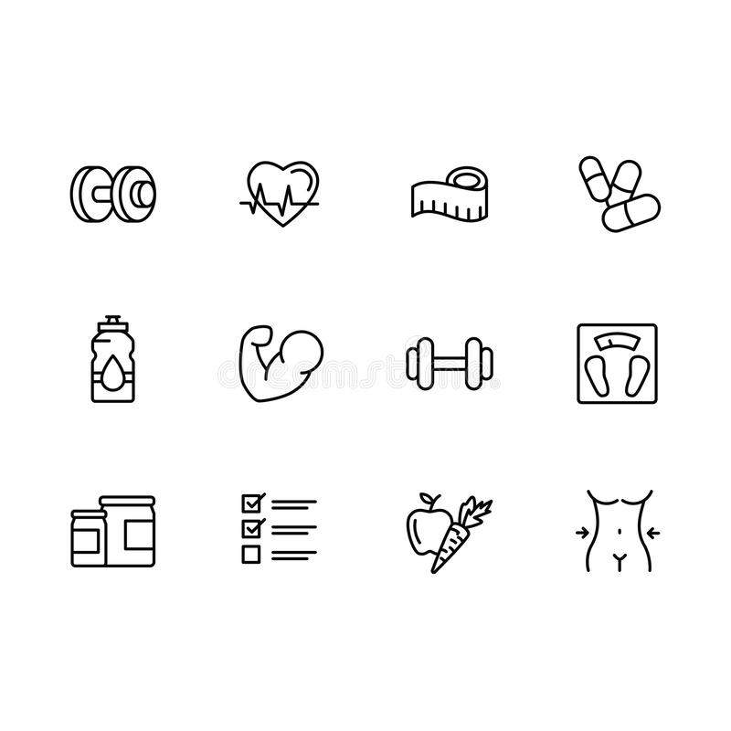 Simple set sport, fitness, gym equipment related vector line icons. Fitness training, bodybuilding dumbbells, weight royalty free illustration