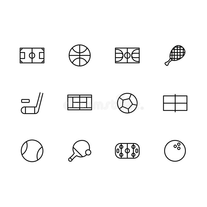 Simple set sports and active lifestyle illustration line icon. Contains such icons football, hockey, basketball, tennis royalty free illustration
