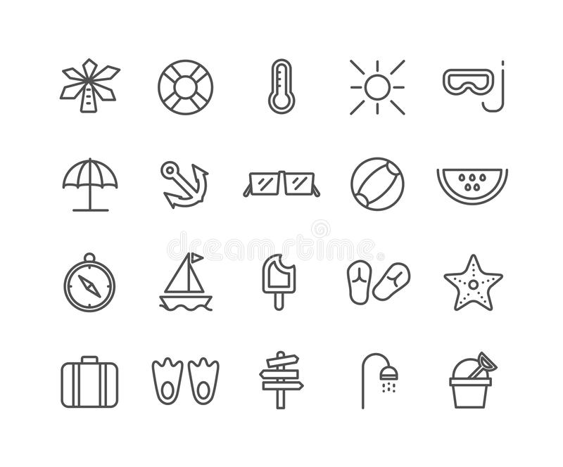 Simple Set of Summer vector thin line icons vector illustration