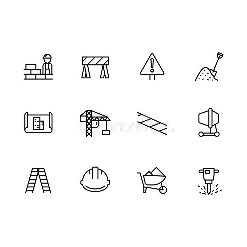 Simple set symbols building construction and engineering line icon. Contains such icon brick wall, worker, builder royalty free illustration