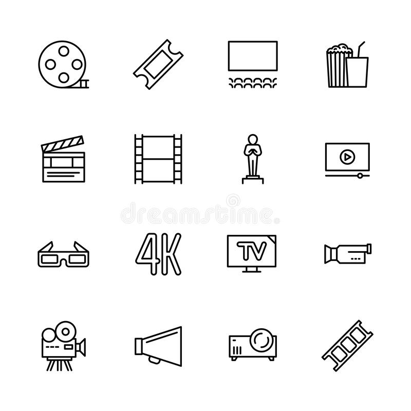 Simple set symbols cinema, filming cinema and film theater. Contains such icon movie, popcorn, cinema film, screen. Award, glasses, 3d, 4k television camera vector illustration