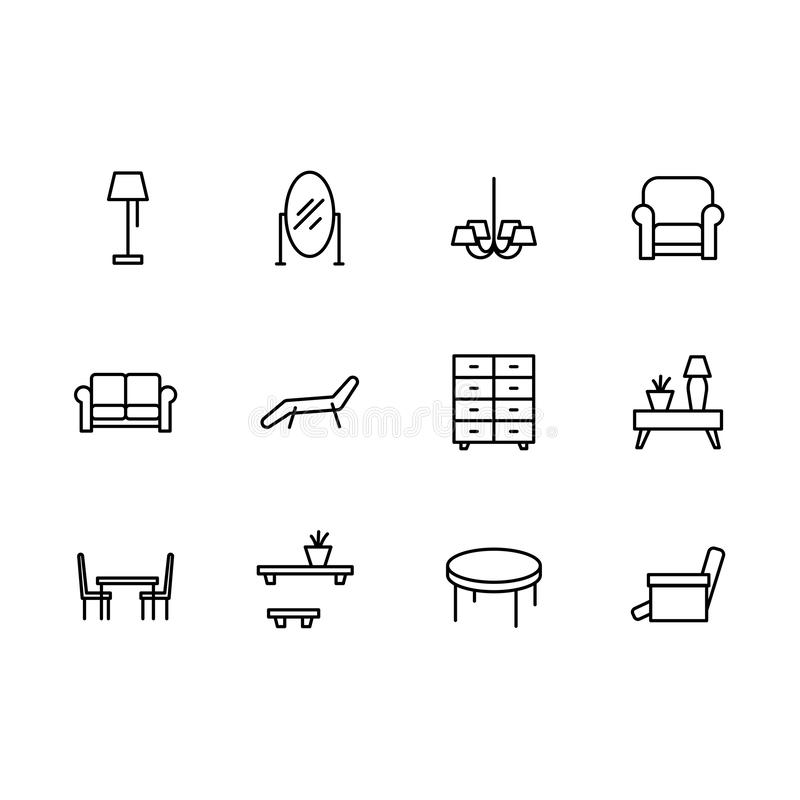 Simple set symbols furniture and interior room line icon. Contains such icon lamp, makeup mirror, chandelier, armchair. Couch, sofa, dinning table, living room vector illustration
