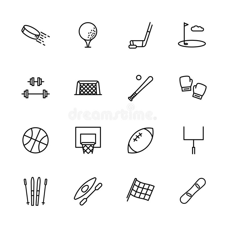Simple set symbols sport and activity. Contains such icon hockey, golf, puck, stick, bodybuilding, barbell, baseball stock illustration