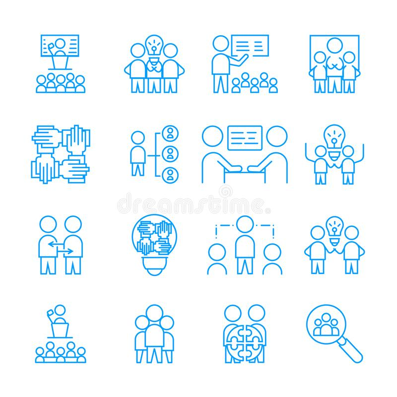 Simple Set of Team Work icon. vector white linear sign symbol stock illustration