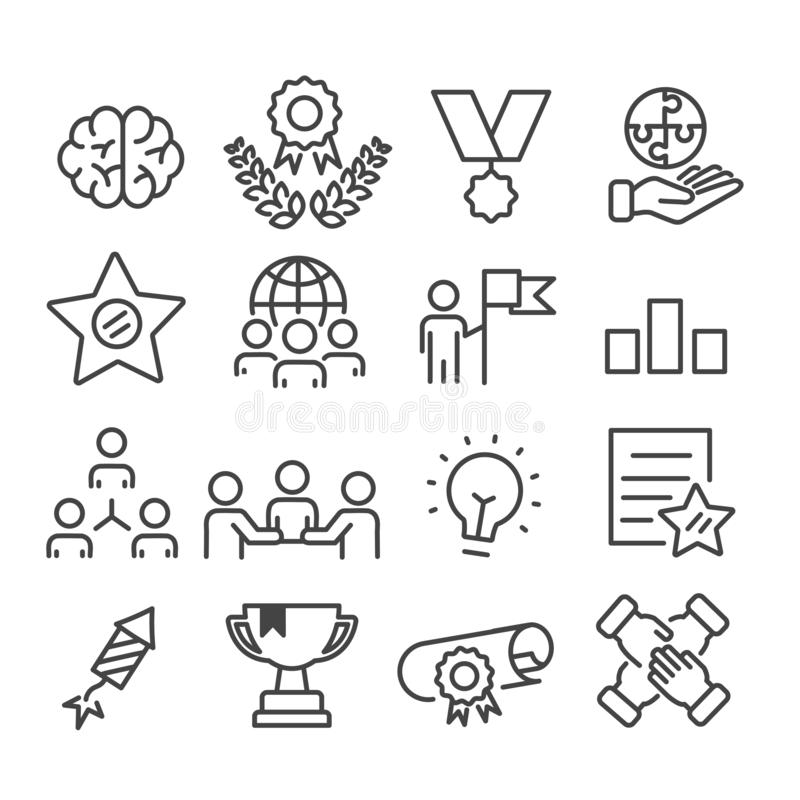 Simple set of teamwork and successful concept icon isolated. Modern outline on white background. Vector stock illustration