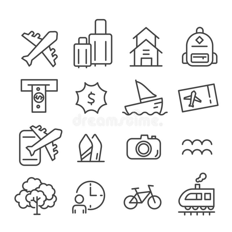Simple set of time to travel icon isolated. Modern outline on white background vector illustration