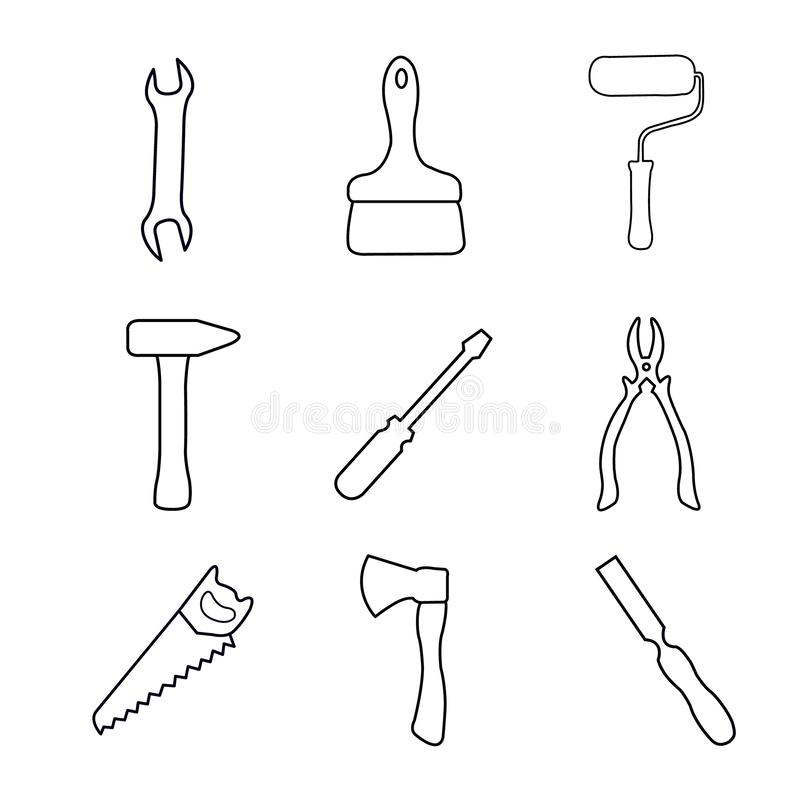 Simple set of tools related vector icons for your design. royalty free illustration