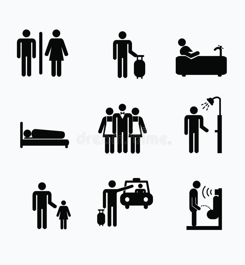 Simple Set of Users Related Vector Line Icons. Contains such Icons as Male, Female, Profile, Personal Quality and more. Editable S stock illustration