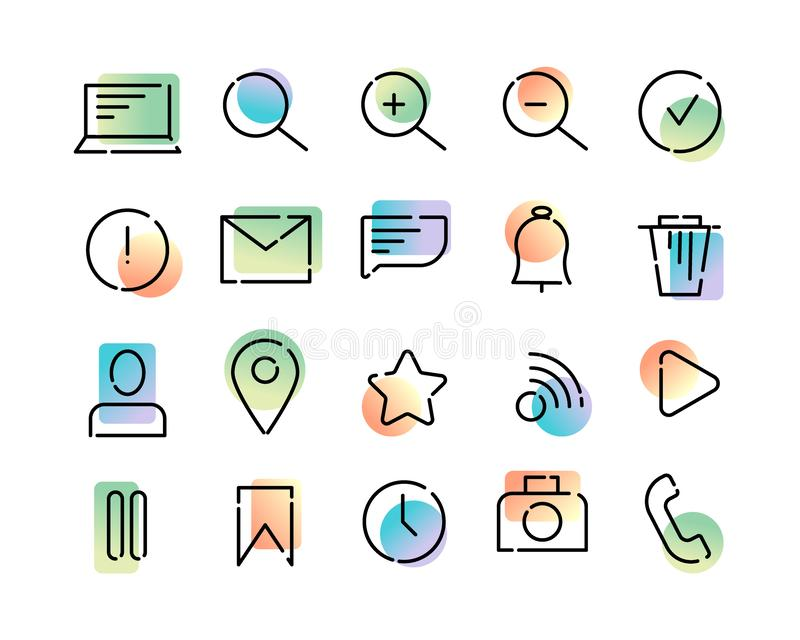 Simple set of vector icons on the theme of web and app. Black dotted lines and colorful modern gradient on a white background. royalty free illustration