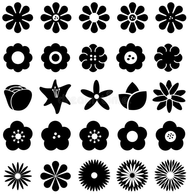 Simple shape geometric flower such as rose tulip sunflower daisy. And other silhouette icon collection set, create by vector stock illustration