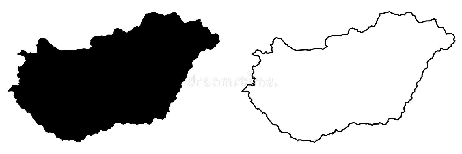 Simple only sharp corners map of Hungary vector drawing. Merca. Tor projection. Filled and outline version stock illustration